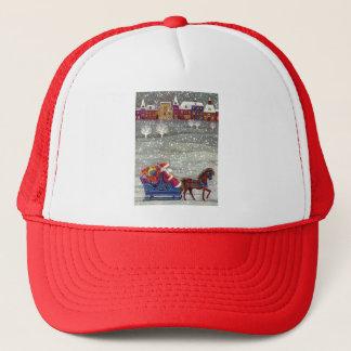 Vintage Christmas, Santa Claus Horse Open Sleigh Trucker Hat