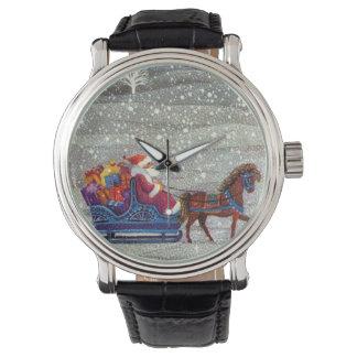 Vintage Christmas, Santa Claus Horse Open Sleigh Watch