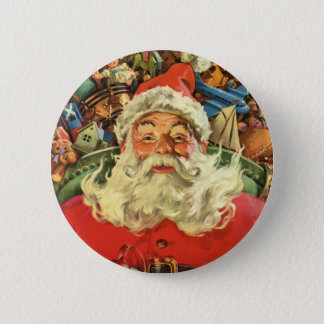 Vintage Christmas, Santa Claus in Sleigh with Toys 6 Cm Round Badge