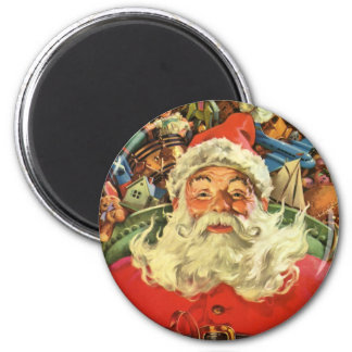 Vintage Christmas, Santa Claus in Sleigh with Toys 6 Cm Round Magnet