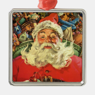 Vintage Christmas, Santa Claus in Sleigh with Toys Christmas Ornament
