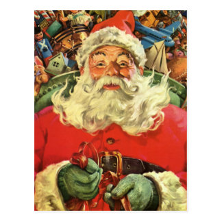 Vintage Christmas, Santa Claus in Sleigh with Toys Postcard