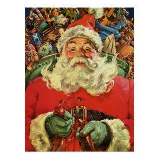 Vintage Christmas, Santa Claus in Sleigh with Toys Poster