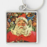 Vintage Christmas, Santa Claus in Sleigh with Toys Silver-Colored Square Key Ring