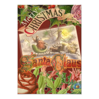 Vintage Christmas Santa Claus in Victorian Sleigh Magnetic Invitations