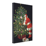 Vintage Christmas, Santa Claus Lit Candles on Tree Stretched Canvas Print