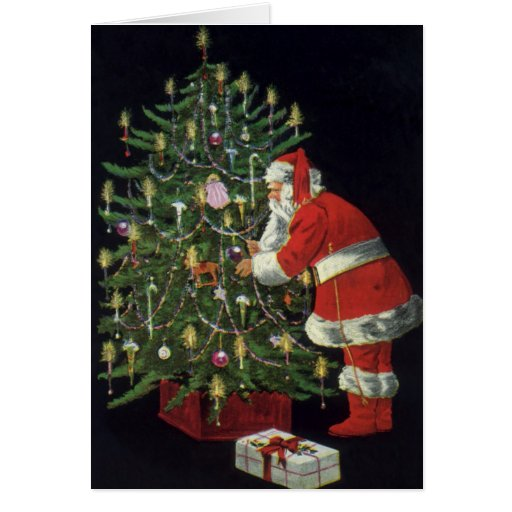 Vintage Christmas, Santa Claus Lit Candles on Tree Card