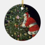 Vintage Christmas, Santa Claus Lit Candles on Tree Ornaments