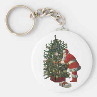 Vintage Christmas, Santa Claus Lit Candles on Tree Keychain