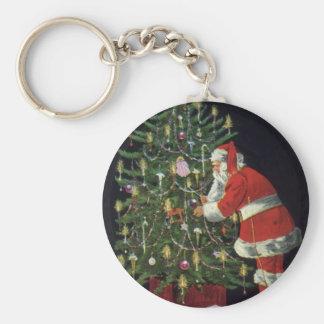 Vintage Christmas, Santa Claus Lit Candles on Tree Keychains