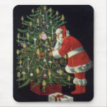 Vintage Christmas, Santa Claus Lit Candles on Tree Mouse Pad