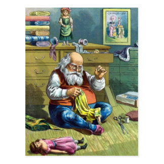 Vintage Christmas, Santa Claus Making Toy Dolls Postcard