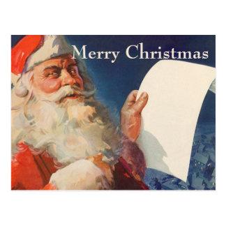 Vintage Christmas, Santa Claus Naughty Nice List Post Cards