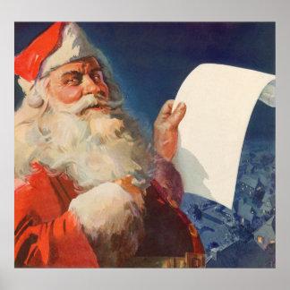 Vintage Christmas, Santa Claus Naughty Nice List Posters