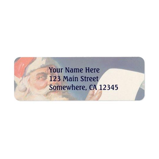 Vintage Christmas, Santa Claus Naughty Nice List Return Address Label