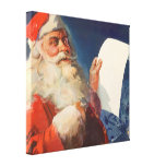 Vintage Christmas, Santa Claus Naughty Nice List Stretched Canvas Prints