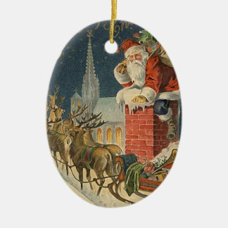 Vintage Christmas Santa Claus on Roof Christmas Ornament