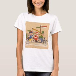 Vintage Christmas, Santa Claus on Tandem Bike T-Shirt