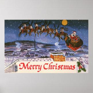 Vintage Christmas Santa Claus Print
