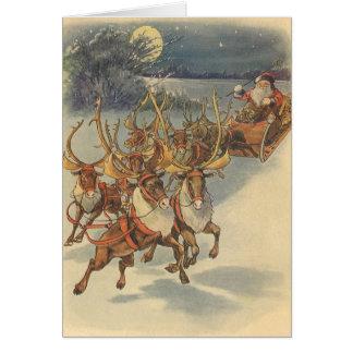 Vintage Christmas Santa Claus Reindeer Sleigh Toys Cards