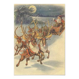 "Vintage Christmas Santa Claus Reindeer Sleigh Toys 5"" X 7"" Invitation Card"