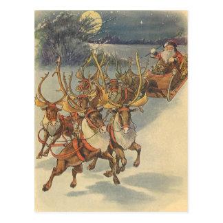 Vintage Christmas Santa Claus Reindeer Sleigh Toys Postcard