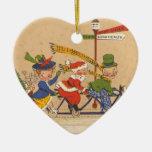 Vintage Christmas, Santa Claus Riding a Bicycle