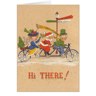 Vintage Christmas; Santa Claus Riding a Bicycle Greeting Cards