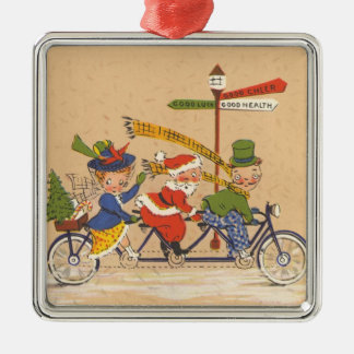 Vintage Christmas, Santa Claus Riding a Bicycle Christmas Ornament