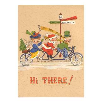 Vintage Christmas, Santa Claus Riding a Bike Personalized Invitation