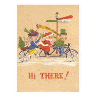 Vintage Christmas, Santa Claus Riding a Bike Personalized Invitation