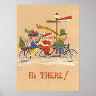 Vintage Christmas, Santa Claus Riding a Bike Print