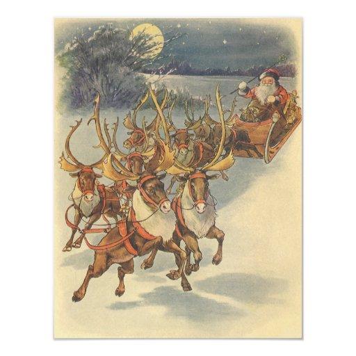 Vintage Christmas Santa Claus Sleigh with Reindeer 11 Cm X 14 Cm Invitation Card