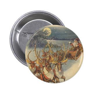 Vintage Christmas Santa Claus Sleigh with Reindeer 6 Cm Round Badge