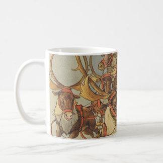 Vintage Christmas Santa Claus Sleigh with Reindeer Coffee Mug