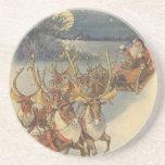 Vintage Christmas Santa Claus Sleigh with Reindeer Drink Coasters