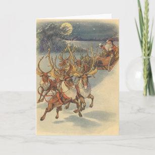 Vintage Christmas Santa Claus Sleigh with Reindeer Holiday Card