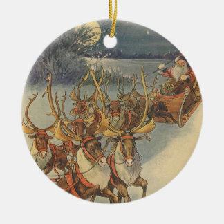 Vintage Christmas Santa Claus Sleigh with Reindeer Round Ceramic Decoration