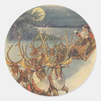 Vintage Christmas Santa Claus Sleigh with Reindeer Round Sticker