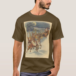 Vintage Christmas Santa Claus Sleigh with Reindeer T-Shirt