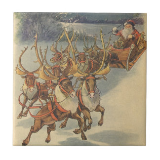Vintage Christmas Santa Claus Sleigh with Reindeer Tile