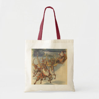Vintage Christmas Santa Claus Sleigh with Reindeer Budget Tote Bag