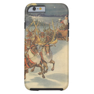 Vintage Christmas Santa Claus Sleigh with Reindeer Tough iPhone 6 Case