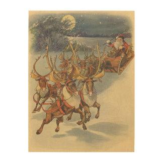 Vintage Christmas Santa Claus Sleigh with Reindeer Wood Wall Art