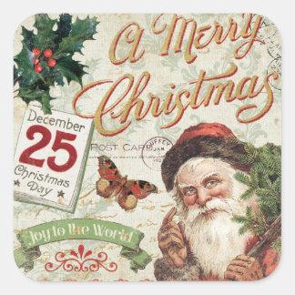 Vintage Christmas Santa Claus Square Sticker