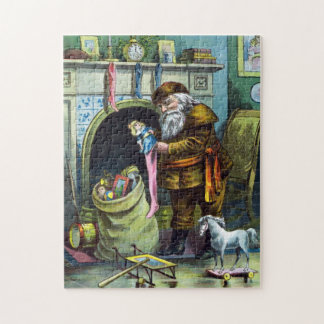 Vintage Christmas, Santa Claus Stockings with Toys Jigsaw Puzzle