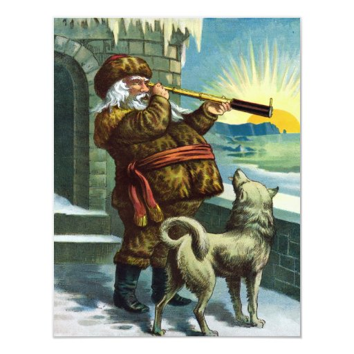 Vintage Christmas Santa Claus Telescope Dog Sunset 11 Cm X 14 Cm Invitation Card