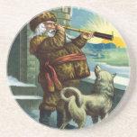 Vintage Christmas Santa Claus Telescope Dog Sunset Drink Coaster