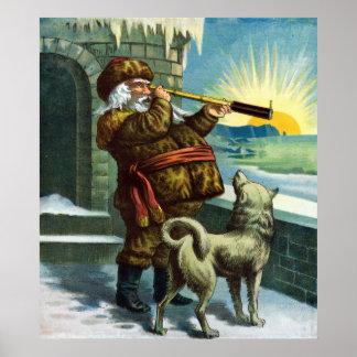 Vintage Christmas Santa Claus Telescope Dog Sunset Poster