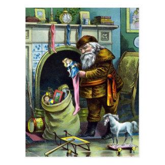Vintage Christmas, Santa Claus Toys and Stockings Postcard